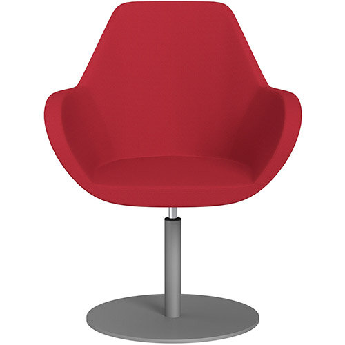 Fan Swivel Round Base Armchair Vivid Red Sprint Fabric Seat &Metallic Silver Base - Perfect Seating Solution for Breakout, Reception Areas &Boardroom