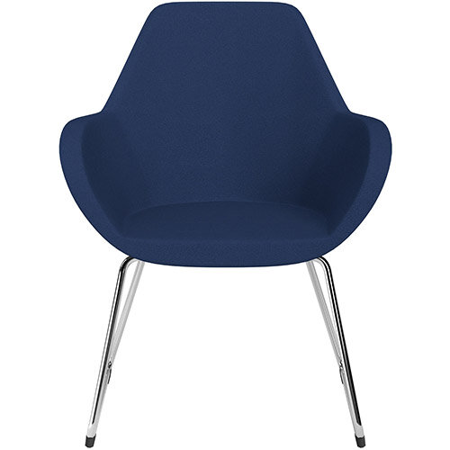 Fan Armchair with Cantilever Legs Navy Evo Fabric Seat &Chrome Base with Felt Glides for Hard Floors - Perfect Seating Solution for Breakout, Reception Areas &Boardroom