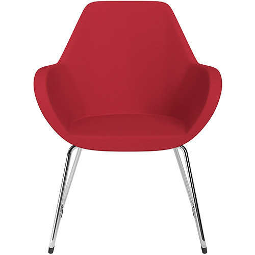 Fan Armchair with Cantilever Legs Vivid Red Sprint Fabric Seat &Chrome Base with Felt Glides for Hard Floors - Perfect Seating Solution for Breakout, Reception Areas &Boardroom