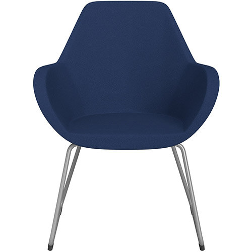 Fan Armchair with Cantilever Legs Navy Evo Fabric Seat &Metallic Silver Base with Felt Glides for Hard Floors - Perfect Seating Solution for Breakout, Reception Areas &Boardroom