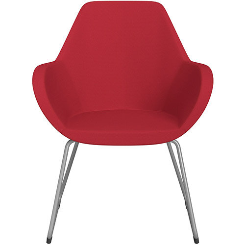 Fan Armchair with Cantilever Legs Vivid Red Sprint Fabric Seat &Metallic Silver Base with Felt Glides for Hard Floors - Perfect Seating Solution for Breakout, Reception Areas &Boardroom