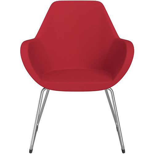 Fan Armchair with Cantilever Legs Vivid Red Sprint Fabric Seat &Satine Base with Felt Glides for Hard Floors - Perfect Seating Solution for Breakout, Reception Areas &Boardroom