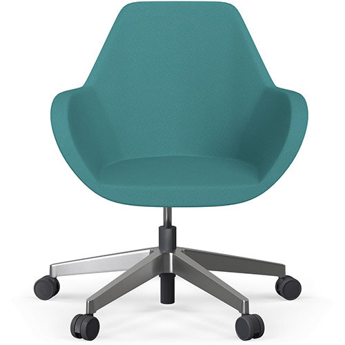 Fan Swivel Five Star Base Aqua Green Evo Fabric Seat &Polished Aluminium Base with Castors for Hard Floors - Perfect Seating Solution for Breakout, Reception Areas &Boardroom