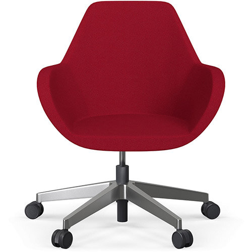 Fan Swivel Five Star Base Red Evo Fabric Seat &Polished Aluminium Base with Castors for Soft Floors - Perfect Seating Solution for Breakout, Reception Areas &Boardroom
