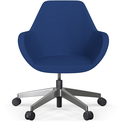 Fan Swivel Five Star Base Blue Evo Fabric Seat &Polished Aluminium Base with Castors for Soft Floors - Perfect Seating Solution for Breakout, Reception Areas &Boardroom