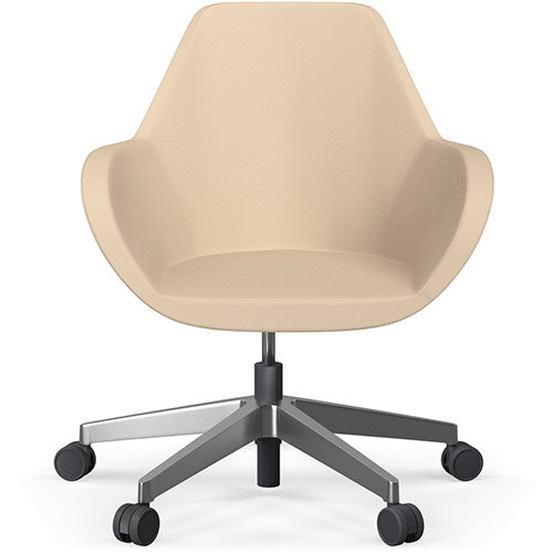 Fan Swivel Five Star Base Beige Softline Leather Look Seat &Polished Aluminium Base with Castors for Hard Floors - Perfect Seating Solution for Breakout, Reception Areas &Boardroom