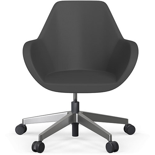 Fan Swivel Five Star Base Dark Brown Softline Leather Look Seat &Polished Aluminium Base with Castors for Soft Floors - Perfect Seating Solution for Breakout, Reception Areas &Boardroom
