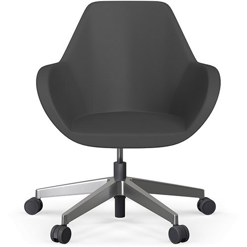Fan Swivel Five Star Base Dark Brown Softline Leather Look Seat &Polished Aluminium Base with Castors for Hard Floors - Perfect Seating Solution for Breakout, Reception Areas &Boardroom