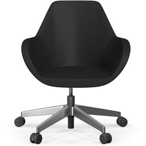 Fan Swivel Five Star Base Black Softline Leather Look Seat &Polished Aluminium Base with Castors for Hard Floors - Perfect Seating Solution for Breakout, Reception Areas &Boardroom
