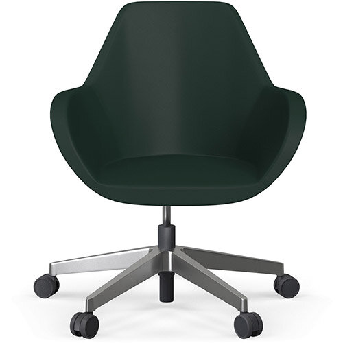 Fan Swivel Five Star Base Dark Green Softline Leather Look Seat &Polished Aluminium Base with Castors for Hard Floors - Perfect Seating Solution for Breakout, Reception Areas &Boardroom