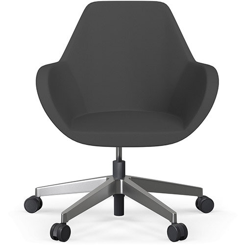 Fan Swivel Five Star Base Dark Grey Sprint Fabric Seat &Polished Aluminium Base with Castors for Soft Floors - Perfect Seating Solution for Breakout, Reception Areas &Boardroom