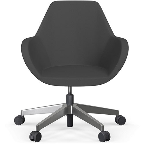 Fan Swivel Five Star Base Dark Grey Sprint Fabric Seat &Polished Aluminium Base with Castors for Hard Floors - Perfect Seating Solution for Breakout, Reception Areas &Boardroom