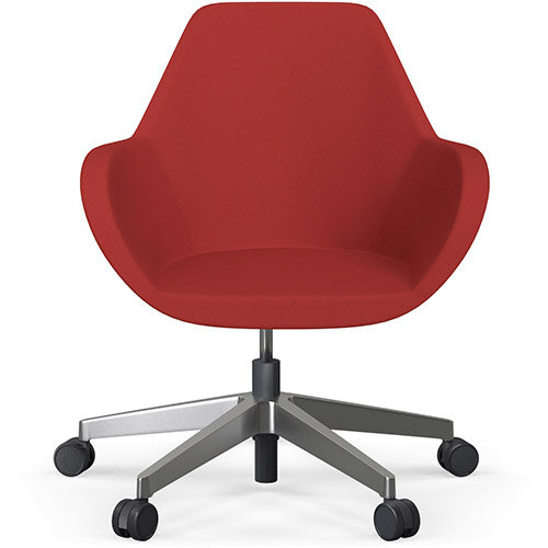 Fan Swivel Five Star Base Classic Red Sprint Fabric Seat &Polished Aluminium Base with Castors for Soft Floors - Perfect Seating Solution for Breakout, Reception Areas &Boardroom