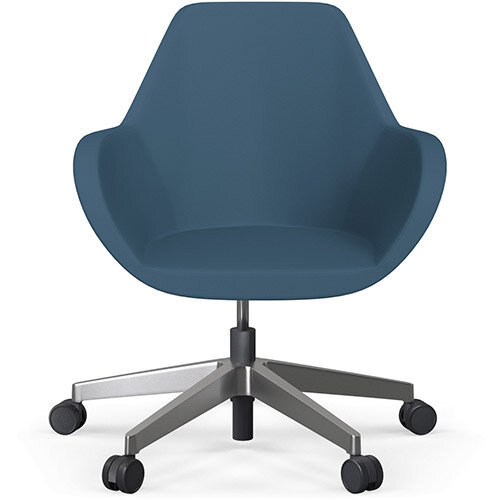 Fan Swivel Five Star Base Aqua Blue Valencia Leather Look Seat &Polished Aluminium Base with Castors for Soft Floors - Perfect Seating Solution for Breakout, Reception Areas &Boardroom