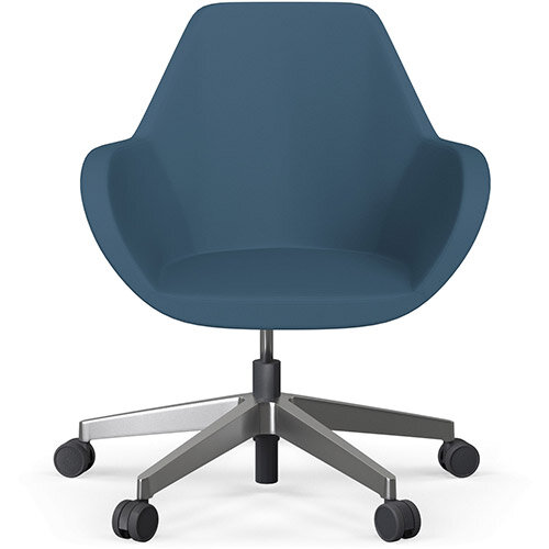 Fan Swivel Five Star Base Aqua Blue Valencia Leather Look Seat &Polished Aluminium Base with Castors for Hard Floors - Perfect Seating Solution for Breakout, Reception Areas &Boardroom