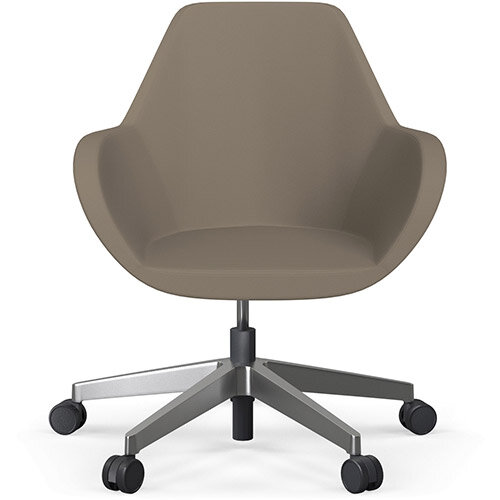 Fan Swivel Five Star Base Brown Valencia Leather Look Seat &Polished Aluminium Base with Castors for Soft Floors - Perfect Seating Solution for Breakout, Reception Areas &Boardroom