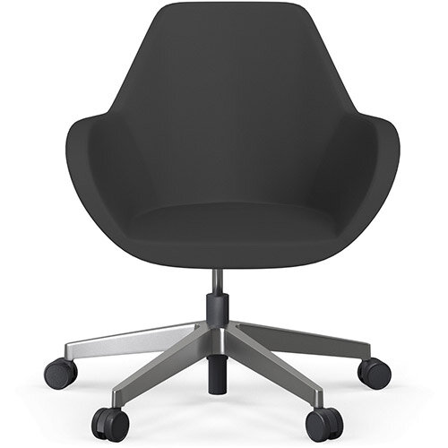 Fan Swivel Five Star Base Charcoal Valencia Leather Look Seat &Polished Aluminium Base with Castors for Soft Floors - Perfect Seating Solution for Breakout, Reception Areas &Boardroom