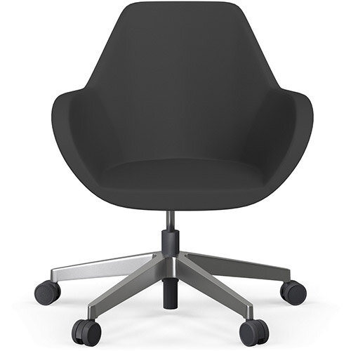 Fan Swivel Five Star Base Charcoal Valencia Leather Look Seat &Polished Aluminium Base with Castors for Hard Floors - Perfect Seating Solution for Breakout, Reception Areas &Boardroom