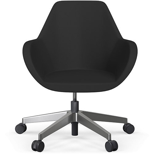 Fan Swivel Five Star Base Black Valencia Leather Look Seat &Polished Aluminium Base with Castors for Soft Floors - Perfect Seating Solution for Breakout, Reception Areas &Boardroom