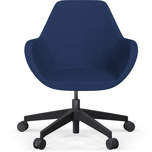 Fan Swivel Five Star Base Navy Evo Fabric Seat &Black Base with Castors for Soft Floors - Perfect Seating Solution for Breakout, Reception Areas &Boardroom
