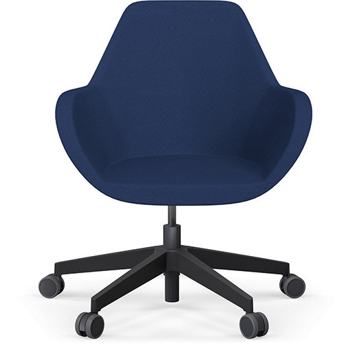 Fan Swivel Five Star Base Navy Evo Fabric Seat &Black Base with Castors for Hard Floors - Perfect Seating Solution for Breakout, Reception Areas &Boardroom