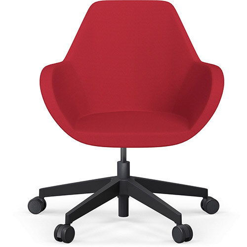 Fan Swivel Five Star Base Vivid Red Sprint Fabric Seat &Black Base with Castors for Soft Floors - Perfect Seating Solution for Breakout, Reception Areas &Boardroom