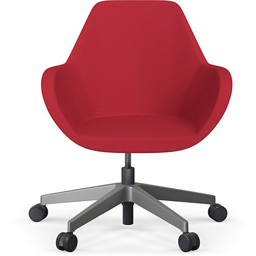 Fan Swivel Five Star Base Vivid Red Sprint Fabric Seat &Metallic Silver Base with Castors for Soft Floors - Perfect Seating Solution for Breakout, Reception Areas &Boardroom