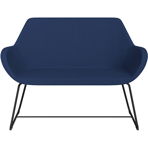 Fan 2 Seater Sofa with Cantilever Legs Navy Evo Fabric Seat &Black Base with Felt Glides for Hard Floors - Perfect Seating Solution for Breakout &Reception Areas