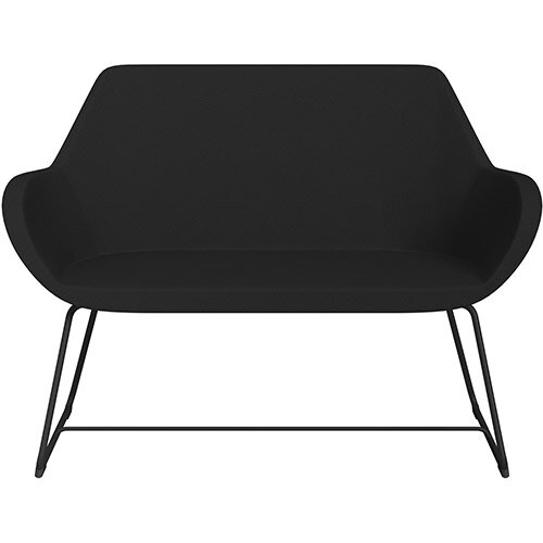 Fan 2 Seater Sofa with Cantilever Legs Black Evo Fabric Seat &Black Base with Felt Glides for Hard Floors - Perfect Seating Solution for Breakout &Reception Areas