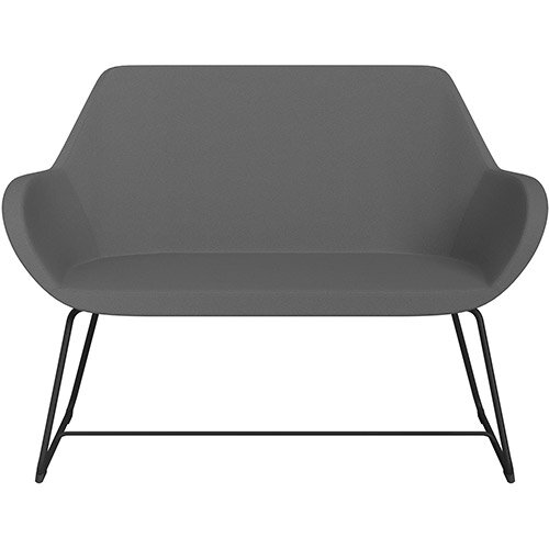 Fan 2 Seater Sofa with Cantilever Legs Grey Evo Fabric Seat &Black Base with Glides for Soft Floors  - Perfect Seating Solution for Breakout &Reception Areas