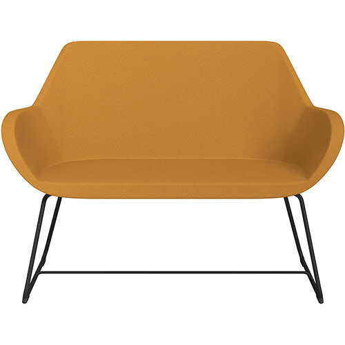 Fan 2 Seater Sofa with Cantilever Legs Yellow Evo Fabric Seat &Black Base with Felt Glides for Hard Floors - Perfect Seating Solution for Breakout &Reception Areas