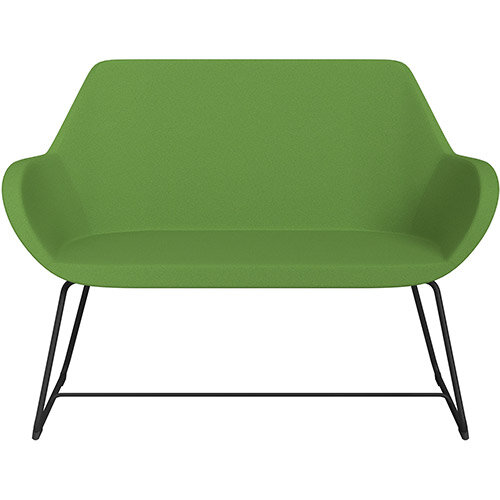 Fan 2 Seater Sofa with Cantilever Legs Green Evo Fabric Seat &Black Base with Felt Glides for Hard Floors - Perfect Seating Solution for Breakout &Reception Areas