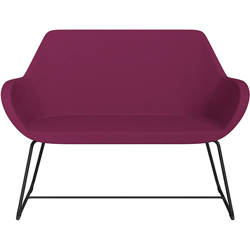 Fan 2 Seater Sofa with Cantilever Legs Pink Evo Fabric Seat &Black Base with Glides for Soft Floors  - Perfect Seating Solution for Breakout &Reception Areas