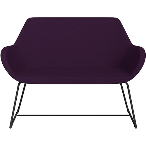 Fan 2 Seater Sofa with Cantilever Legs Purple Evo Fabric Seat &Black Base with Glides for Soft Floors  - Perfect Seating Solution for Breakout &Reception Areas
