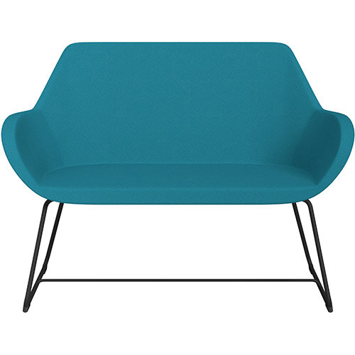 Fan 2 Seater Sofa with Cantilever Legs Aquamarine Evo Fabric Seat &Black Base with Glides for Soft Floors  - Perfect Seating Solution for Breakout &Reception Areas