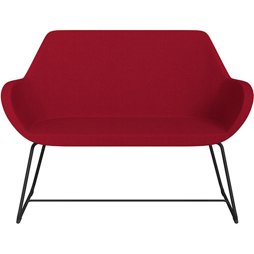 Fan 2 Seater Sofa with Cantilever Legs Red Evo Fabric Seat &Black Base with Felt Glides for Hard Floors - Perfect Seating Solution for Breakout &Reception Areas