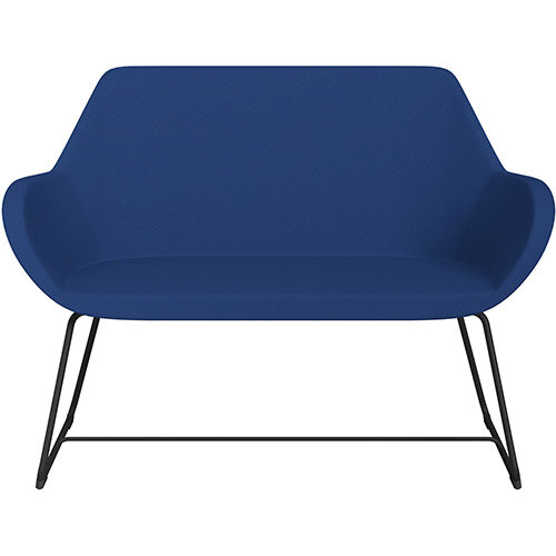 Fan 2 Seater Sofa with Cantilever Legs Blue Evo Fabric Seat &Black Base with Glides for Soft Floors  - Perfect Seating Solution for Breakout &Reception Areas