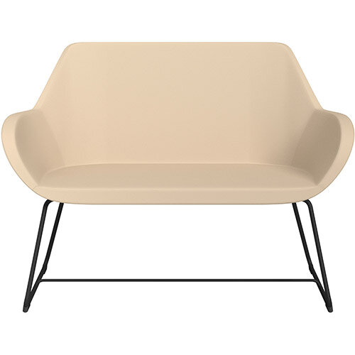 Fan 2 Seater Sofa with Cantilever Legs Beige Softline Leather Look Seat &Black Base with Felt Glides for Hard Floors - Perfect Seating Solution for Breakout &Reception Areas