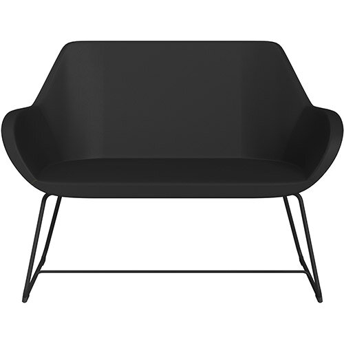 Fan 2 Seater Sofa with Cantilever Legs Black Softline Leather Look Seat &Black Base with Felt Glides for Hard Floors - Perfect Seating Solution for Breakout &Reception Areas
