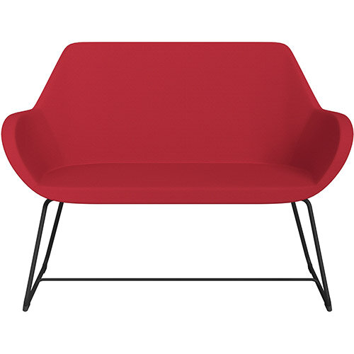 Fan 2 Seater Sofa with Cantilever Legs Vivid Red Sprint Fabric Seat &Black Base with Glides for Soft Floors  - Perfect Seating Solution for Breakout &Reception Areas