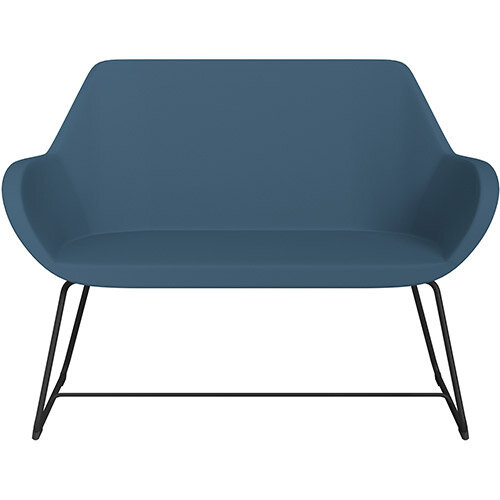 Fan 2 Seater Sofa with Cantilever Legs Aqua Blue Valencia Leather Look Seat &Black Base with Felt Glides for Hard Floors - Perfect Seating Solution for Breakout &Reception Areas