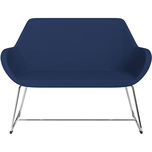 Fan 2 Seater Sofa with Cantilever Legs Navy Evo Fabric Seat &Chrome Base with Glides for Soft Floors  - Perfect Seating Solution for Breakout &Reception Areas