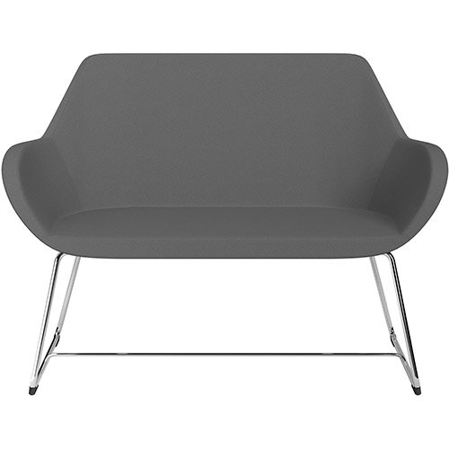 Fan 2 Seater Sofa with Cantilever Legs Grey Evo Fabric Seat &Chrome Base with Felt Glides for Hard Floors - Perfect Seating Solution for Breakout &Reception Areas