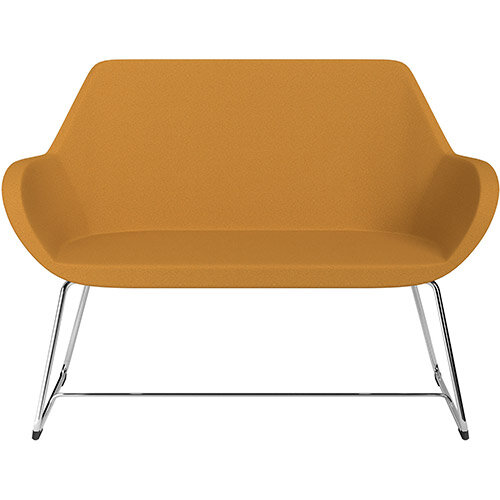 Fan 2 Seater Sofa with Cantilever Legs Yellow Evo Fabric Seat &Chrome Base with Felt Glides for Hard Floors - Perfect Seating Solution for Breakout &Reception Areas