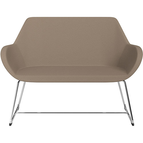 Fan 2 Seater Sofa with Cantilever Legs Beige Evo Fabric Seat &Chrome Base with Glides for Soft Floors  - Perfect Seating Solution for Breakout &Reception Areas