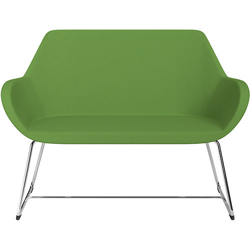 Fan 2 Seater Sofa with Cantilever Legs Green Evo Fabric Seat &Chrome Base with Glides for Soft Floors  - Perfect Seating Solution for Breakout &Reception Areas