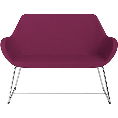 Fan 2 Seater Sofa with Cantilever Legs Pink Evo Fabric Seat &Chrome Base with Glides for Soft Floors  - Perfect Seating Solution for Breakout &Reception Areas