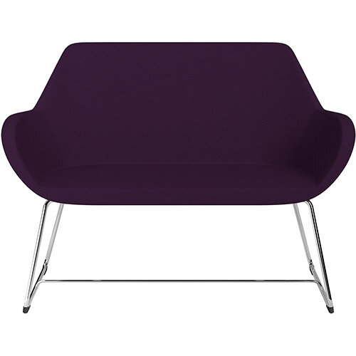 Fan 2 Seater Sofa with Cantilever Legs Purple Evo Fabric Seat &Chrome Base with Glides for Soft Floors  - Perfect Seating Solution for Breakout &Reception Areas