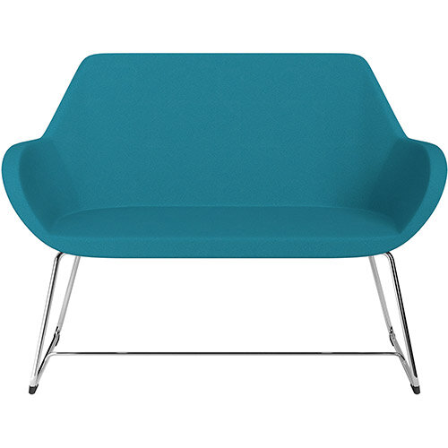 Fan 2 Seater Sofa with Cantilever Legs Aquamarine Evo Fabric Seat &Chrome Base with Felt Glides for Hard Floors - Perfect Seating Solution for Breakout &Reception Areas