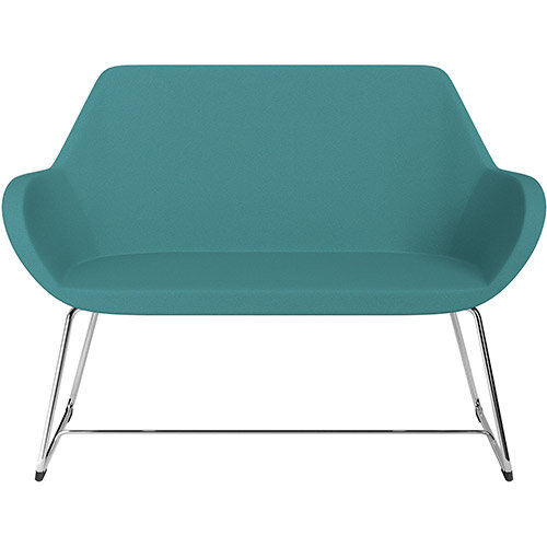 Fan 2 Seater Sofa with Cantilever Legs Aqua Green Evo Fabric Seat &Chrome Base with Glides for Soft Floors - Perfect Seating Solution for Breakout &Reception Areas